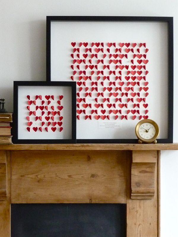 Valentine's Day art for the mantel-Home decoration ideas for February 14th
