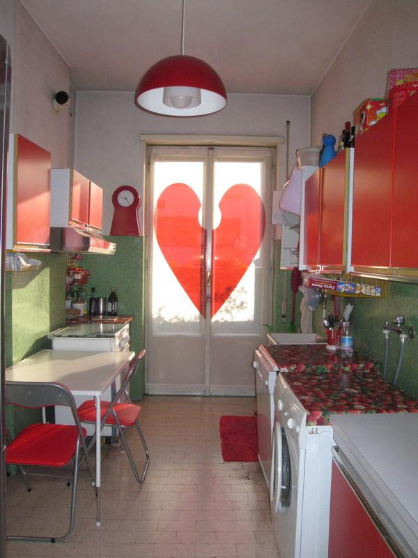 Valentine's heart applied to a kitchen door window - 50 Creative Home Decorating Ideas