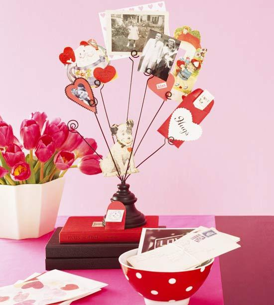 Vintage photos displayed in a holder - Easy DIY Handcrafted Valentine's Day Decor