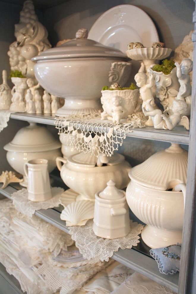 A collection of vintage white porcelain pots - Valentine's Day Ideas and Inspiration