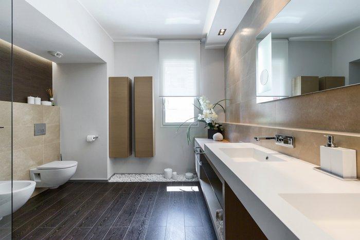 Bathroom interior in warm earth colors - Stylish and Elegant Apartment in Monaco