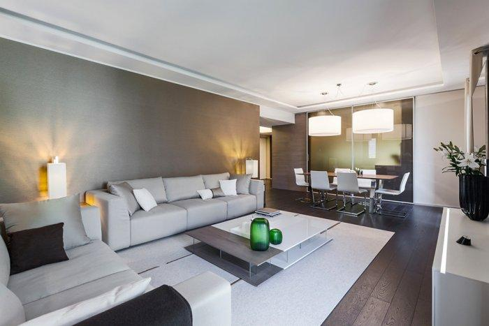 Contemporary apartment living room in earth tones - Stylish and Elegant Apartment in Monaco