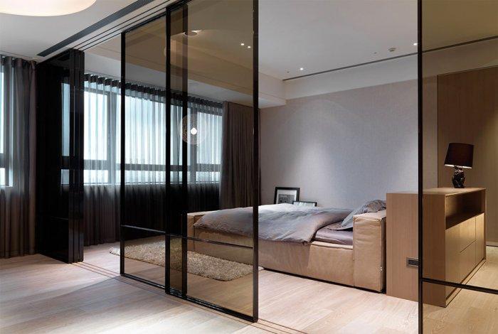 Creative bedroom glass sliding doors - Apartment Design by KCD Design Studio