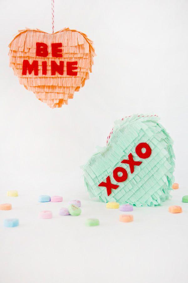 Diy conversation heart pinatas- Home decoration ideas for February 14th
