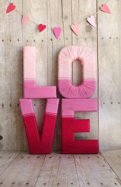 diy yarn love letters-Home decoration ideas for February 14th
