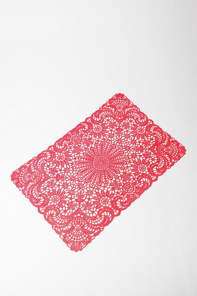 Interesting and Funny Approach to Saint Valentine's Day -Doily Placemat, Red