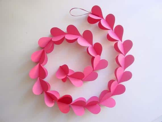 Interesting and Funny Approach to Saint Valentine's Day -Heart Garland, Pink by Young Hearts