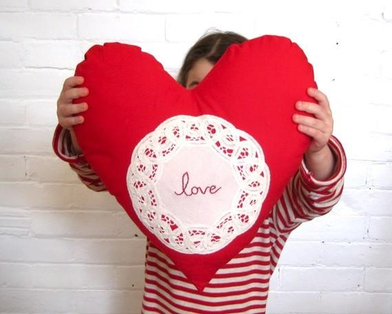 Heart Pillow Cushion Red Love by Sewn Natural- 19 Amazing Valentine's Day Home Decorating Ideas