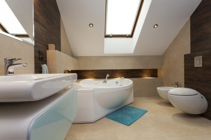 Contemporary high placed bathroom window
