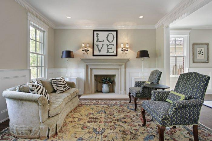 A love poster as a focal point above the fireplace - 50 Creative Home Decorating Ideas