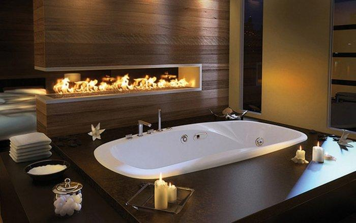 Luxury romantic bathroom with real fireplace - 10 Decorating Ideas For a Sexy Night