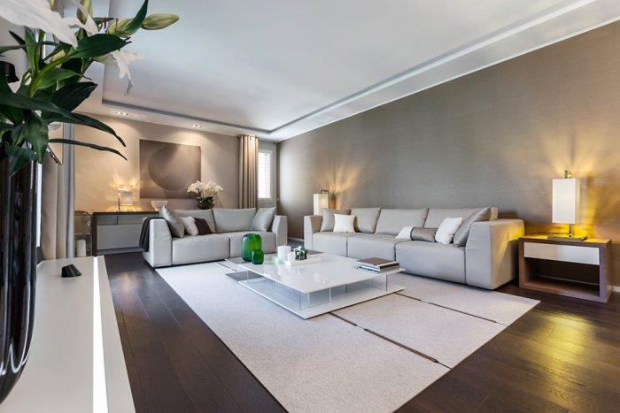 Modern living room with white sitting furniture - Stylish and Elegant Apartment in Monaco