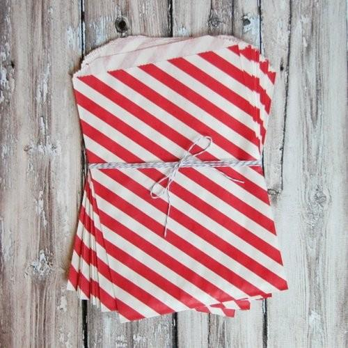 Interesting and Funny Approach to Saint Valentine's Day - Red Diagonal Striped Favor Bags, Large