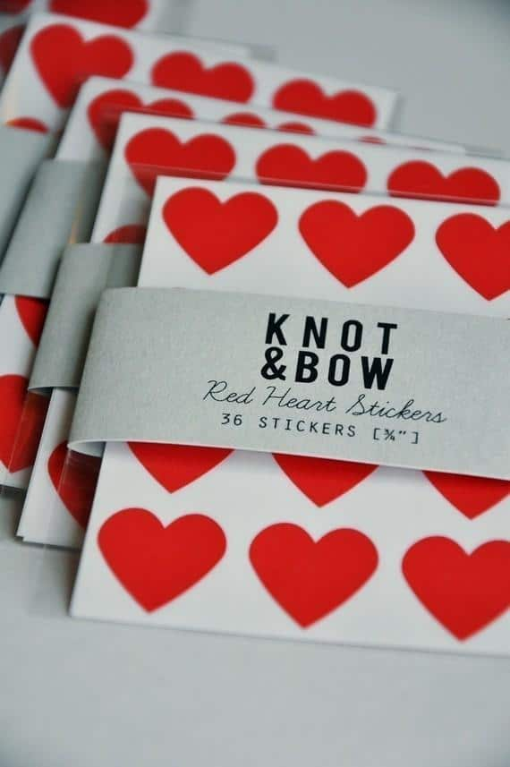 Interesting and Funny Approach to Saint Valentine's Day - Red Heart Stickers by Knot & Bow