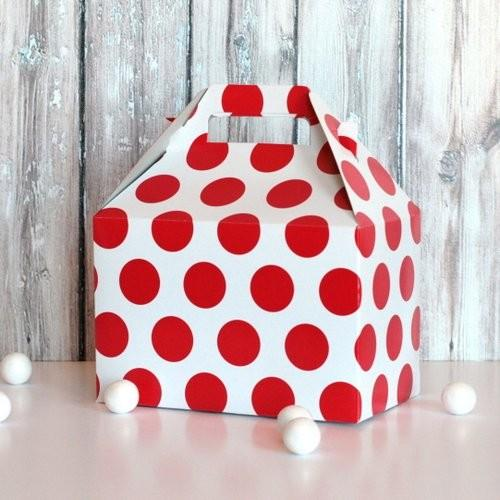 Interesting and Funny Approach to Saint Valentine's Day - Red Polka Dot Gable Box, Large