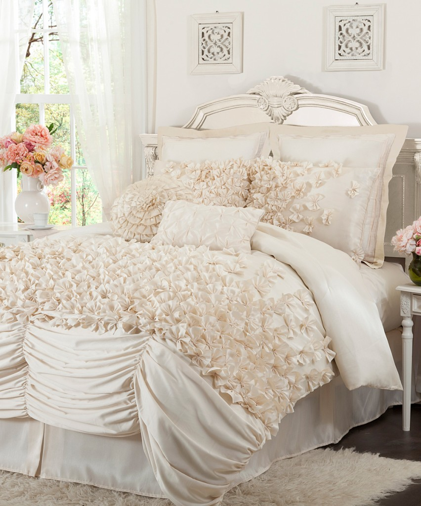 Romantic bedroom with interesting bed covering texture - 15 Tips for a Valentine's Day Interior