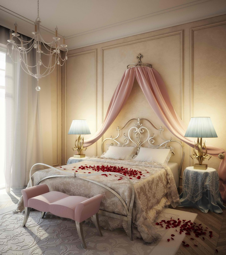 Romantic bedroom with silk and satin bed sheets - 15 Tips for a Valentine's Day Interior
