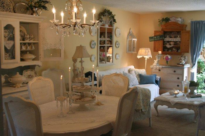 Romantic dining room with vintage crystal chandelier - Valentine's Day Ideas and Inspiration