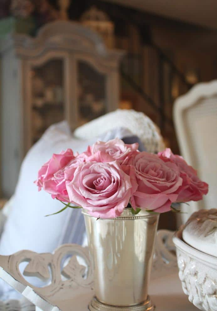 Romantic pink roses used for decoration - Valentine's Day Ideas and Inspiration