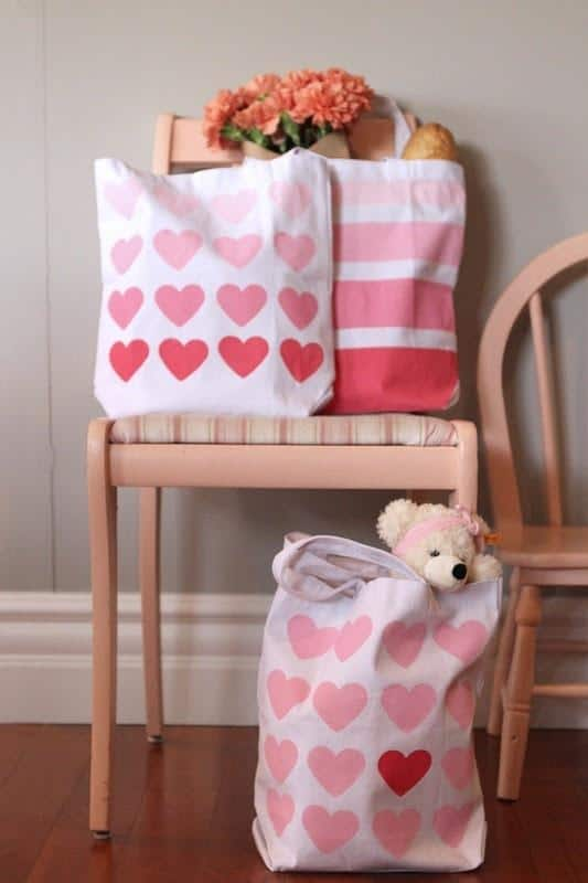 sweet DIY - ombre painted bags-Home decoration ideas for February 14th