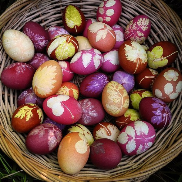 A basket full of naturally dyed rouge eggs– Easter Basket and Eggs Ideas for Decorations in Many Colors