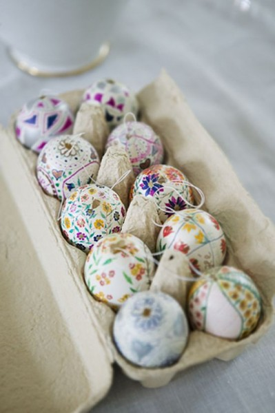 A dosen of painted Easter eggs– Easter Basket and Eggs Ideas for Decorations in Many Colors