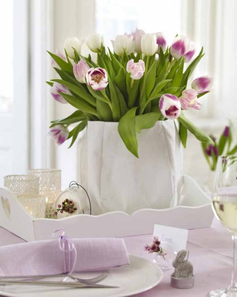 An Easter basket full of fresh spring pale violet tulips - 44 Home Decoration Ideas for table, living room and door
