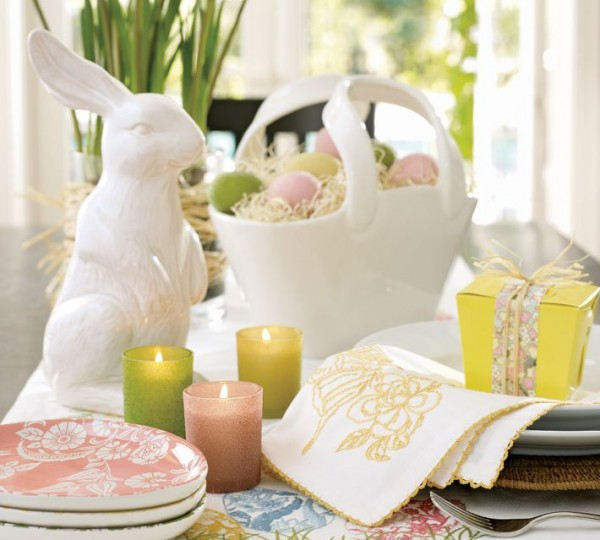 Big white porcelain Easter Bunny table centerpiece- 44 Home Decoration Ideas for table, living room and door