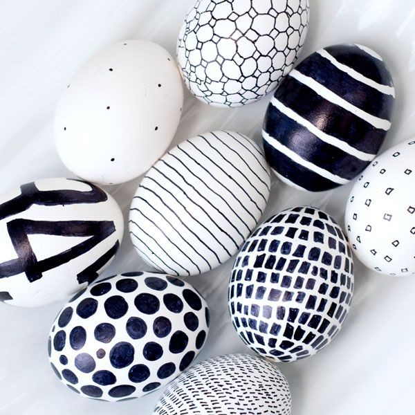 Black and white Easter Eggs– Easter Basket and Eggs Ideas for Decorations in Many Colors