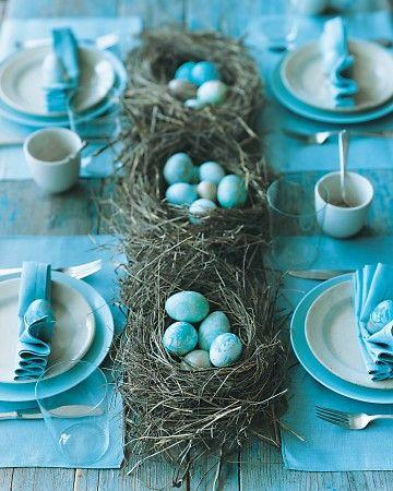 Blue eggs in green centerpieces and blue flatware-Unique, Fresh and Exciting Easter Table Decoration Ideas