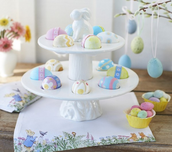 Bunny Ceramic Stand for Eggs used as table centerpiece