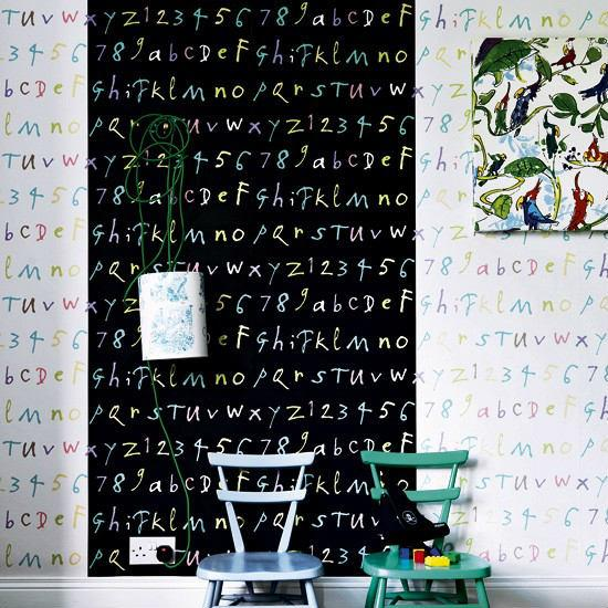 Children Room decorated with letters and numbers-Interior Ideas for Wall Paint, Furniture and Decor