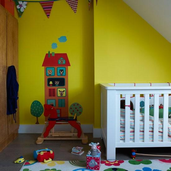 Children Room in yellow-Interior Ideas for Wall Paint, Furniture and Decor