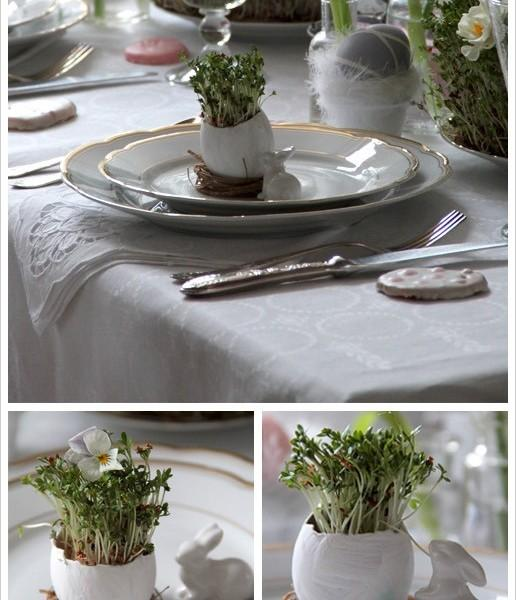 Classic porcelain flatware and creative modern decorative items-Unique, Fresh and Exciting Easter Table Decoration Ideas