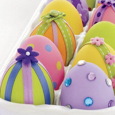 Colorful Easter Eggs, decorated with ornaments– Easter Basket and Eggs Ideas for Decorations in Many Colors
