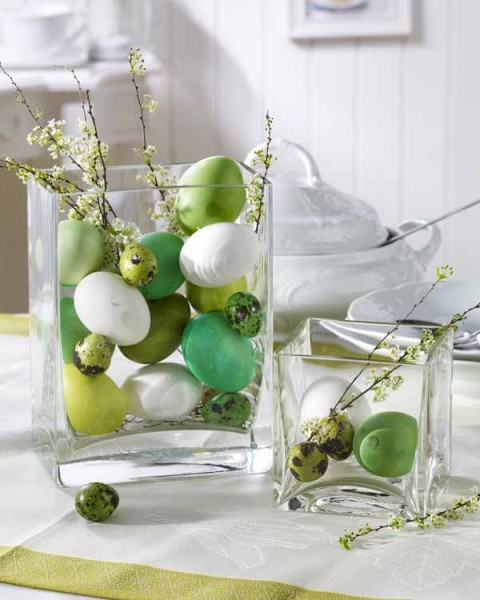 Easter eggs in hurrican jars- 44 Home Decoration Ideas for table, living room and door