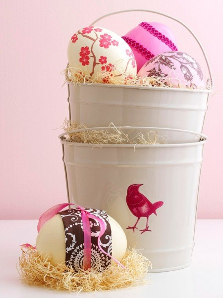 Colorful Easter eggs in a metal pail– Easter Basket and Eggs Ideas for Decorations in Many Colors