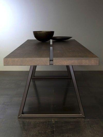 Contemporary masculine minimalist interior design home deco brown table