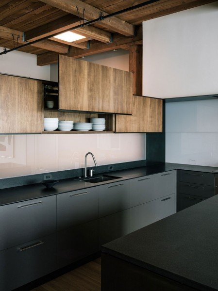 Contemporary wood kitchen cabinets-The interior design of a contemporary property in San Francisco