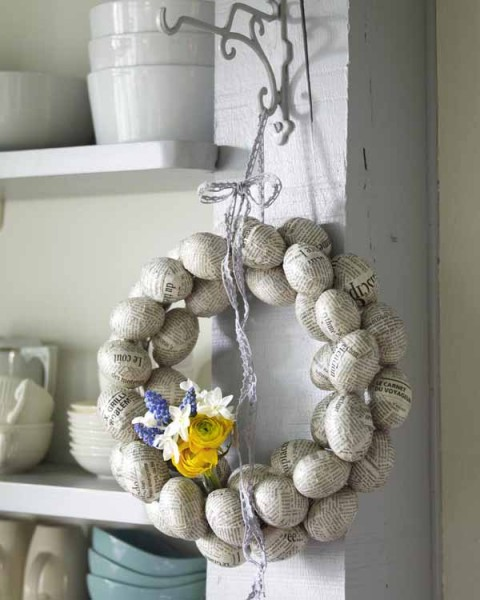 Creative Easter Wreath made from hand-crafted paper eggs- 44 Home Decoration Ideas for table, living room and door