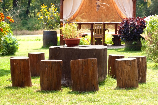 Creative small outdoor stools made of stumps-Sweet and Interesting Patio and Garden Furniture Ideas