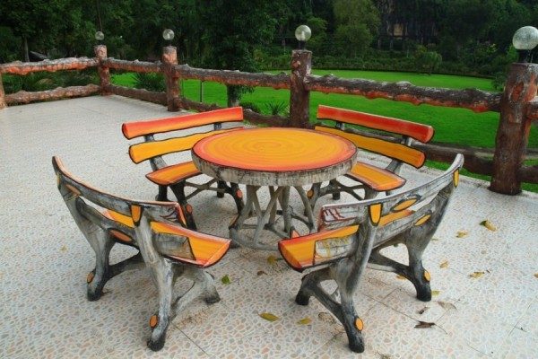 Creative wooden outdoor table and benches-Sweet and Interesting Patio and Garden Furniture Ideas