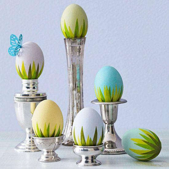 Decorative eggs with funny grass design– Easter Basket and Eggs Ideas for Decorations in Many Colors