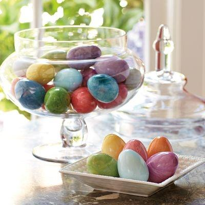 Easter Alabaster Eggs decorating the table– Easter Basket and Eggs Ideas for Decorations in Many Colors