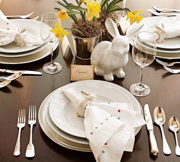 Easter flat and kitchenware arranged in a stylish way - 44 Home Decoration Ideas for table, living room and door