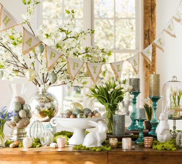 Easter hand-crafted garland - 44 Home Decoration Ideas for table, living room and door