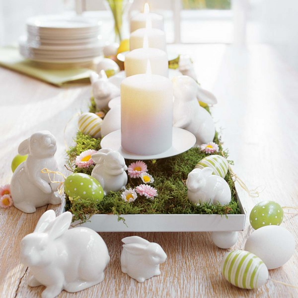 Easter table centerpiece with porcelain bunnies and candles - 44 Home Decoration Ideas for table, living room and door