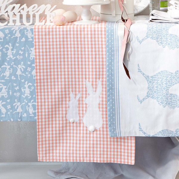 Easter tablecloths with Bunny applciations - 44 Home Decoration Ideas for table, living room and door