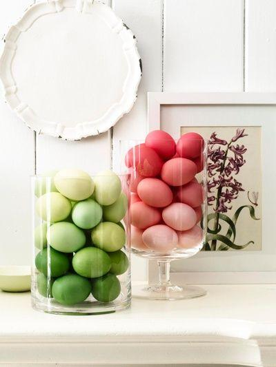 Green and red Ombre Easter Eggs in hurricane jars– Easter Basket and Eggs Ideas for Decorations in Many Colors
