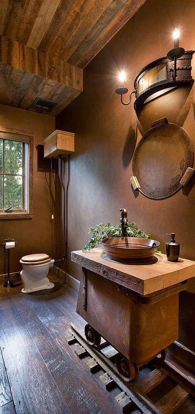 Interior of a small rustic bathroom-Rough, yet elegant and authentic Private Room